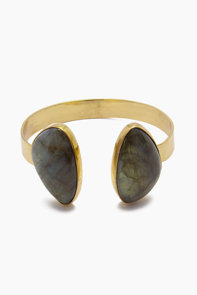 LENA BERNARD Naenia Labradorite Gold Cuff Bracelet Jewelry | Naenia Cuff - Labradorite/Gold