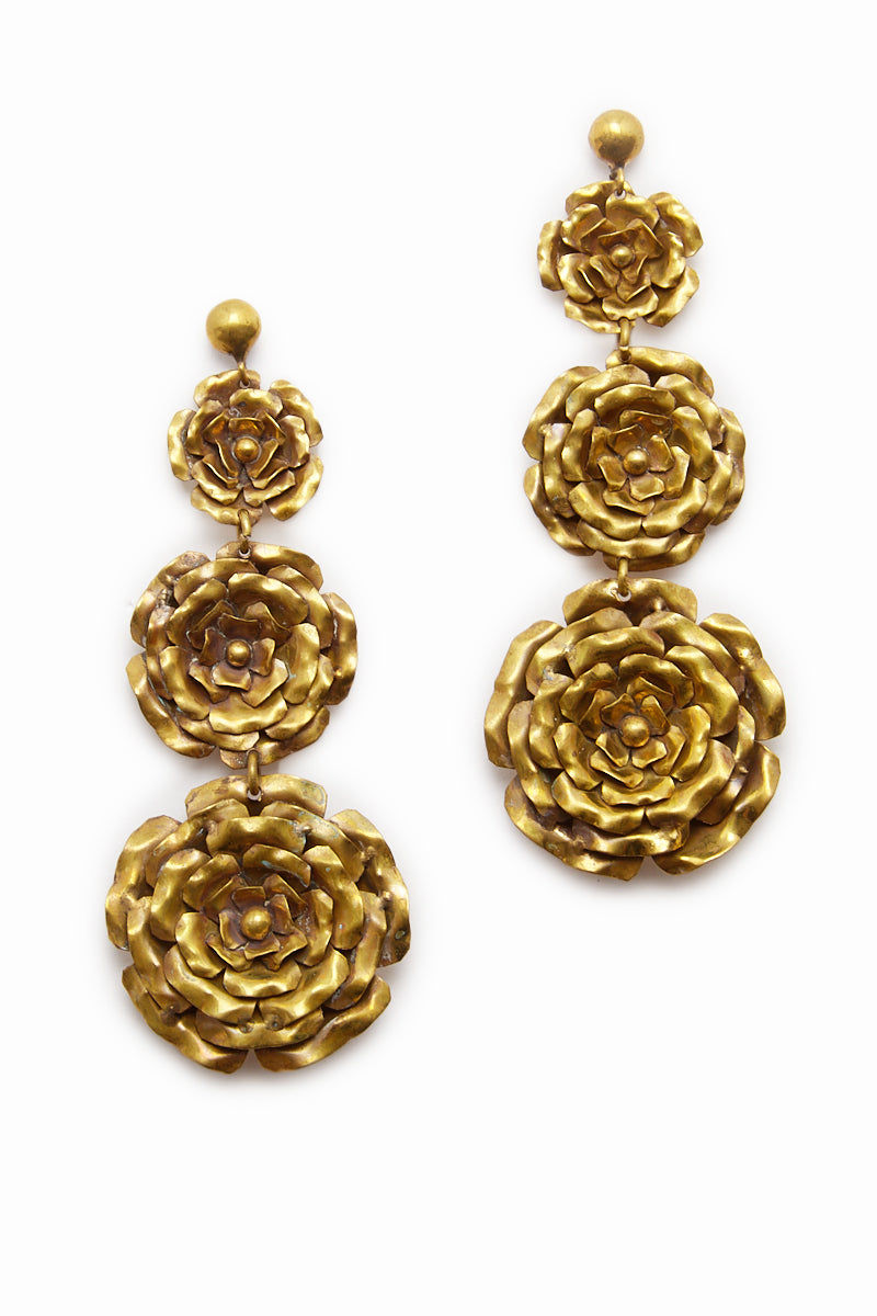 LENA BERNARD 3 Roses Gold Drop Earrings Jewelry | 3 Rose Earring - Gold