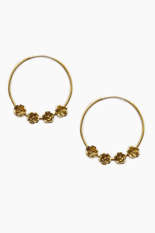 LENA BERNARD 4 Roses Gold Hoop Earrings Jewelry | 4 Roses Gold Hoop Earrings