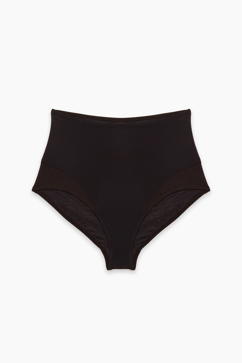 BETH RICHARDS High Waist Mesh Bikini Bottom - Black Bikini Bottom | Black |High Waist Mesh Bikini Bottom -Features: High waisted moderate bottom Mesh accents Italian stretch fabric fully lined