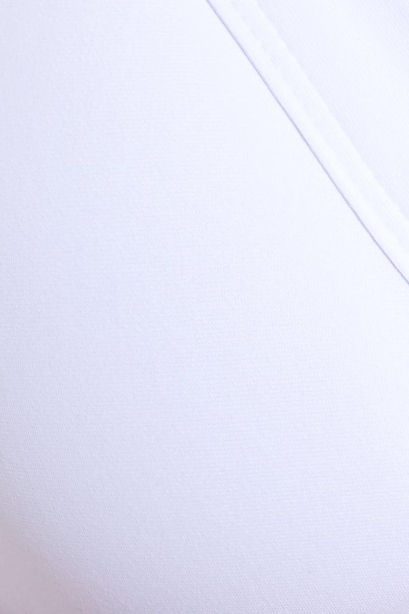BOAMAR Mercy Ruffle Bikini Top - White Bikini Top | White| Boamar Mercy Ruffle Top - White Close Up View V Neckline Wrap Style Ties In Back  Ruffle Shoulder Strap Detail