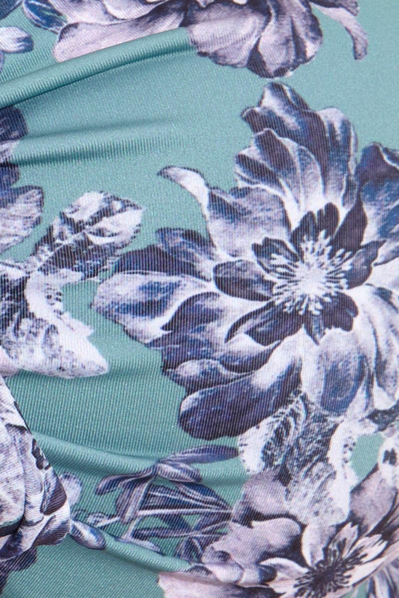 BOAMAR Storni Ruffle Top - Green Flower Bikini Top | Storni Ruffle Top - Green Flower