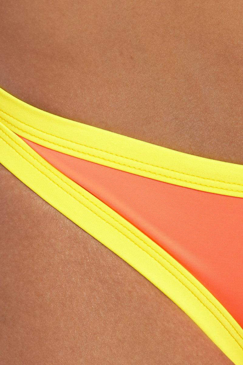 PEIXOTO Micky Full Bikini Bottom - Mai Tai Bikini Bottom | Mai Tai | Peixoto Micky Full Bikini Bottom - Mai Tai Close Up View Hipster Bottom  Moderate-Full Coverage  Orange Bottom with Yellow Trim