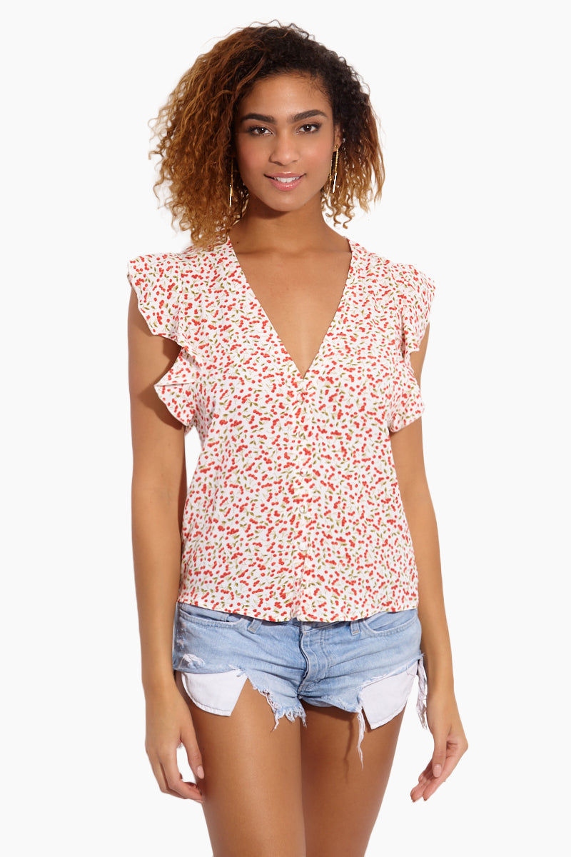 FLYNN SKYE Betsy Blouse - Sweet Cherry Pie Top | Sweet Cherry Pie| Flynn Skye Betsy Blouse - Sweet Cherry Pie Front View Blouse V Neckline  Cut-Off Sleeves  Ruffled Detail   Made in LA  Cherry Print Detail