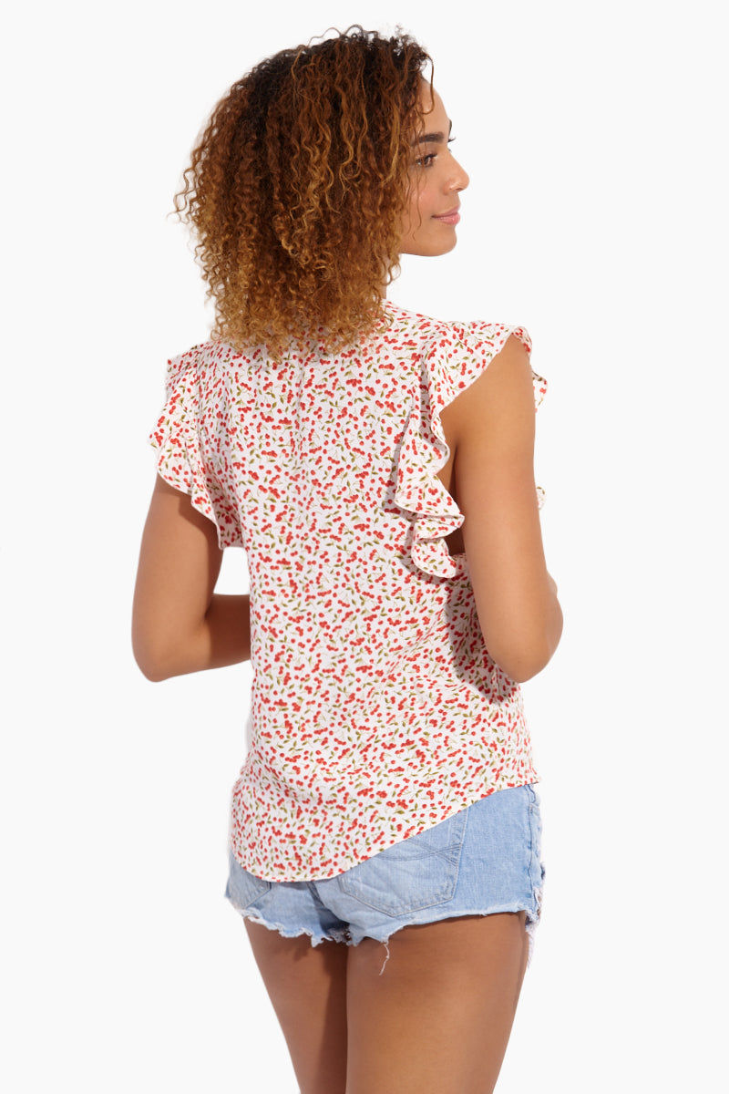 FLYNN SKYE Betsy Blouse - Sweet Cherry Pie Top | Sweet Cherry Pie| Flynn Skye Betsy Blouse - Sweet Cherry Pie Back View Blouse V Neckline  Cut-Off Sleeves  Ruffled Detail   Made in LA  Cherry Print Detail