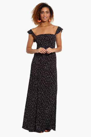 FLYNN SKYE Bardot Maxi Dress - Stardust Dress | Stardust| Flynn Skye Bardot Maxi Dress - Stardust Front View  Maxi Dress  Straight Neckline  Off Shoulder Ruffle Sleeves  Front Button Up Detail Empire Waist Back Elastic Smocked Detail  Front Slit Detail