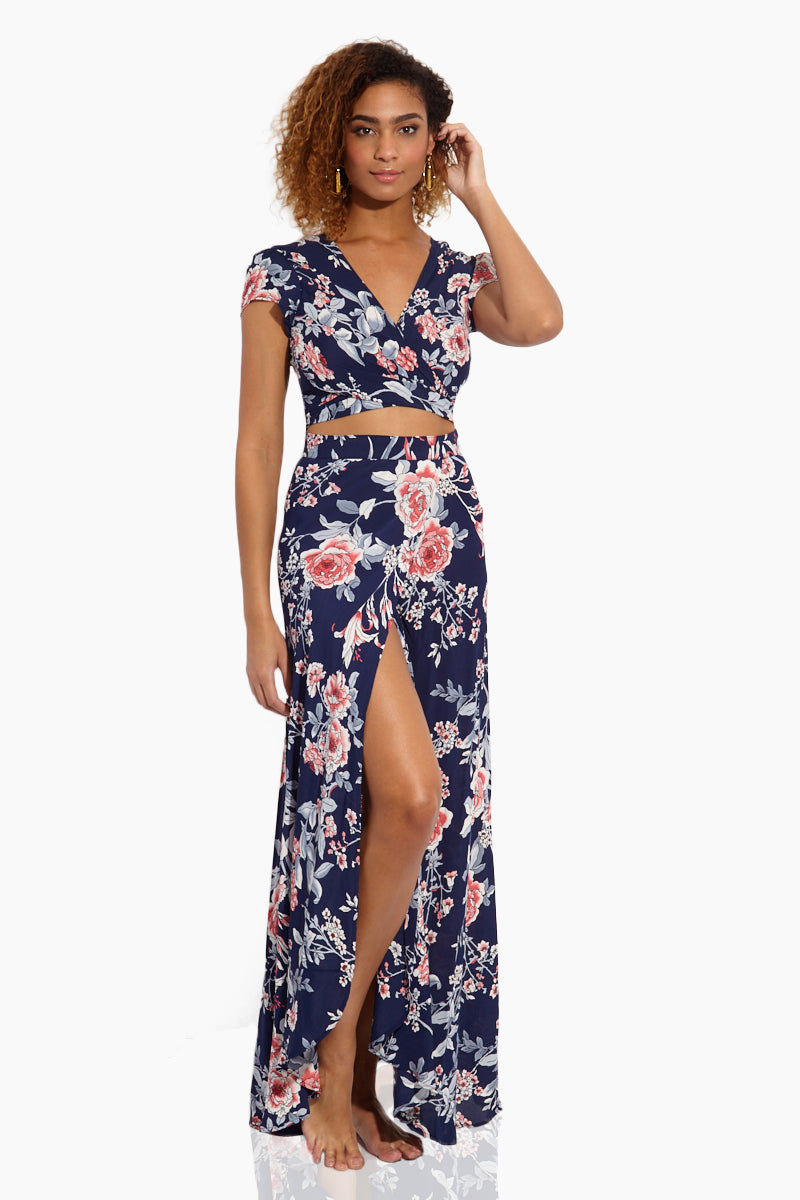 FLYNN SKYE Wrap It Up Skirt - Rosey Waters Skirt | Rosey Waters| Flynn Skye Wrap It Up Skirt - Rosey Waters Front View Full Length Skirt  Wrap Style Slit in the Front