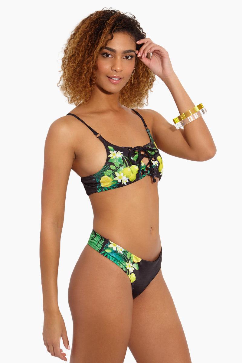 MAPALE Black Lemon Print Bikini Bottom - Black Lemon Bikini Bottom | Black Lemon|Black Lemon Print Bikini Bottom - Features: Fully lined. Minimal rear coverage. Thong style Lemon print on black fabric
