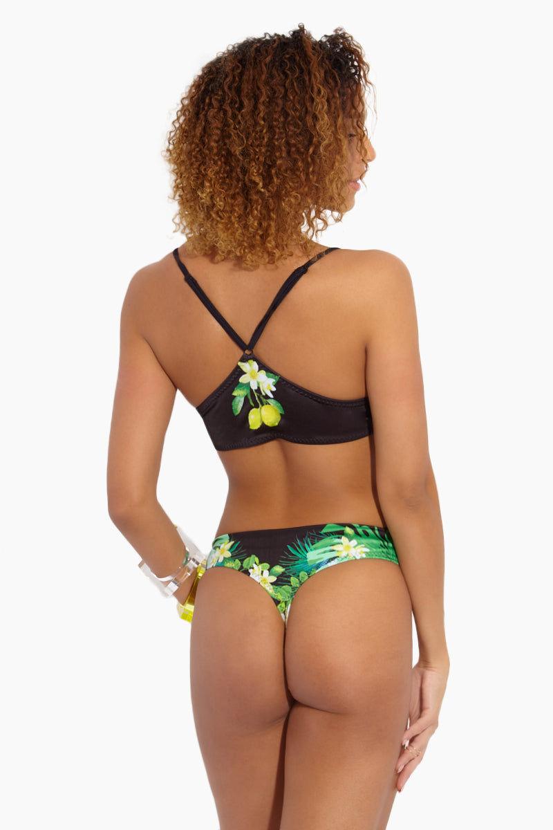MAPALE Lace Up Lemon Bikini Top - Black Bikini Top | Black|Lace Up Lemon Bikini Top - Features: Fully lined Adjustable straps Lace up front Lemon print on black fabric
