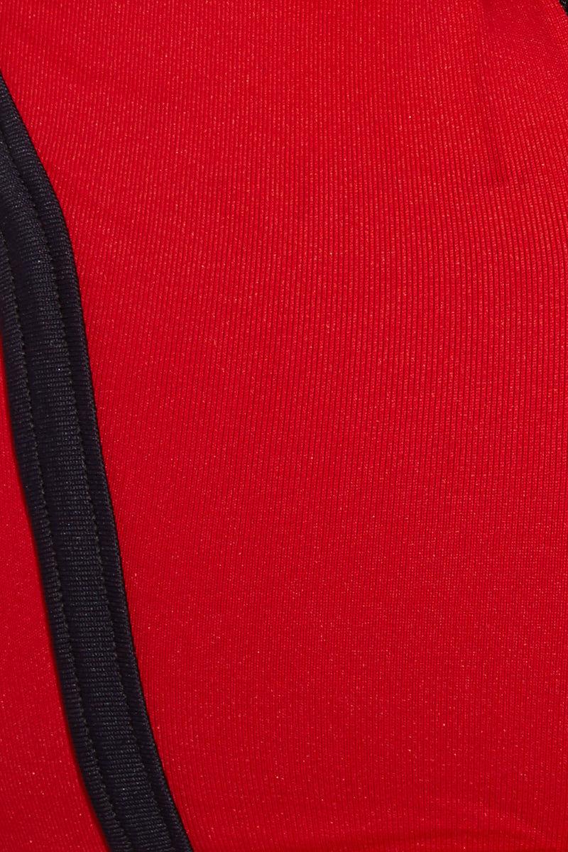 MAPALE Zip Up Racerback Bikini Top - Fire Red Bikini Top | Fire Red| MAPALE Zip Up Raceback Bikini Top Detail View