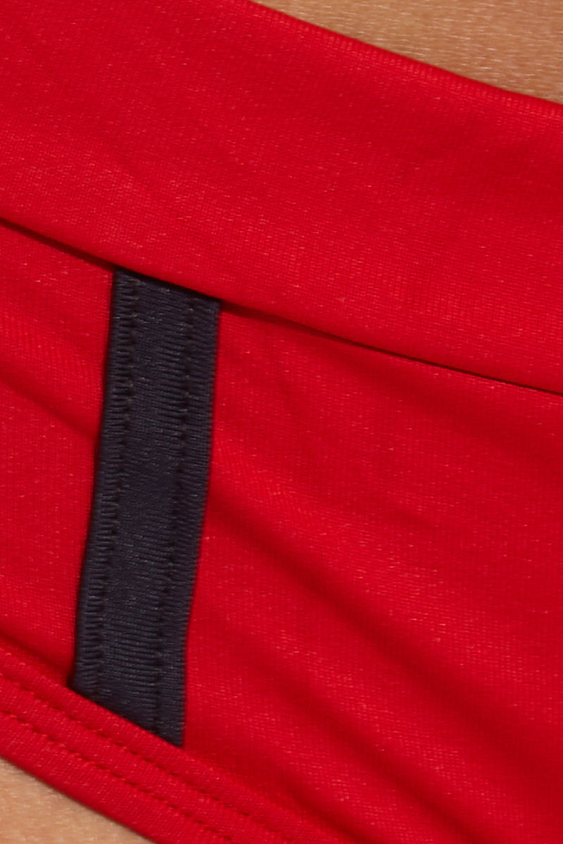 MAPALE Mid Rise Boyshorts Bikini Bottom- Fire Red Bikini Bottom | Fire Red| MAPALE Mid Rise Boyshorts Bikini Bottom Detail View