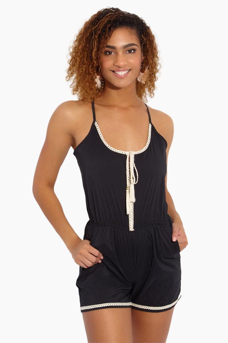MAPALE Crochet Trim Romper - Black Romper | Black|Crochet Trim Romper - Features:  Black romper Spaghetti straps. Pullover style. White strings with tassels
