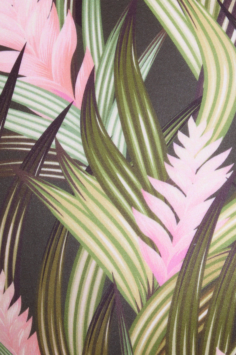 MAPALE Long Sleeve Crop Bikini Top - Green Palm Print Bikini Top | Green Palm Print|  Mapale Long Sleeve Crop Bikini Top - Green Palm Print Features:  Long sleeve rash guard Zipper detail at front Green palm print White mesh back