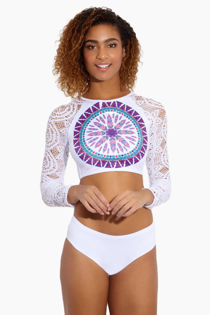 MAPALE Mandala White Bikini Bottom - White Bikini Bottom | White|Mandala White Bikini Bottom - Features:  Moderate coverage bottom Wide waist band Mid rise