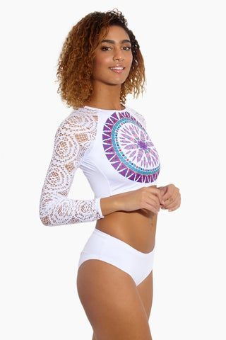 MAPALE Mandala Long Sleeve Bikini Top - White Bikini Top | White|Mandala Long Sleeve Bikini Top - Features:  Crop top rash guard Long sleeve Cut out open back Crochet arm
