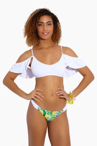 MAPALE Lemons Cheeky Bikini Bottom - White Bikini Bottom | White|Lemons Cheeky Bikini Bottom - Features:  Brazilian cut bottom Low rise Lemon print