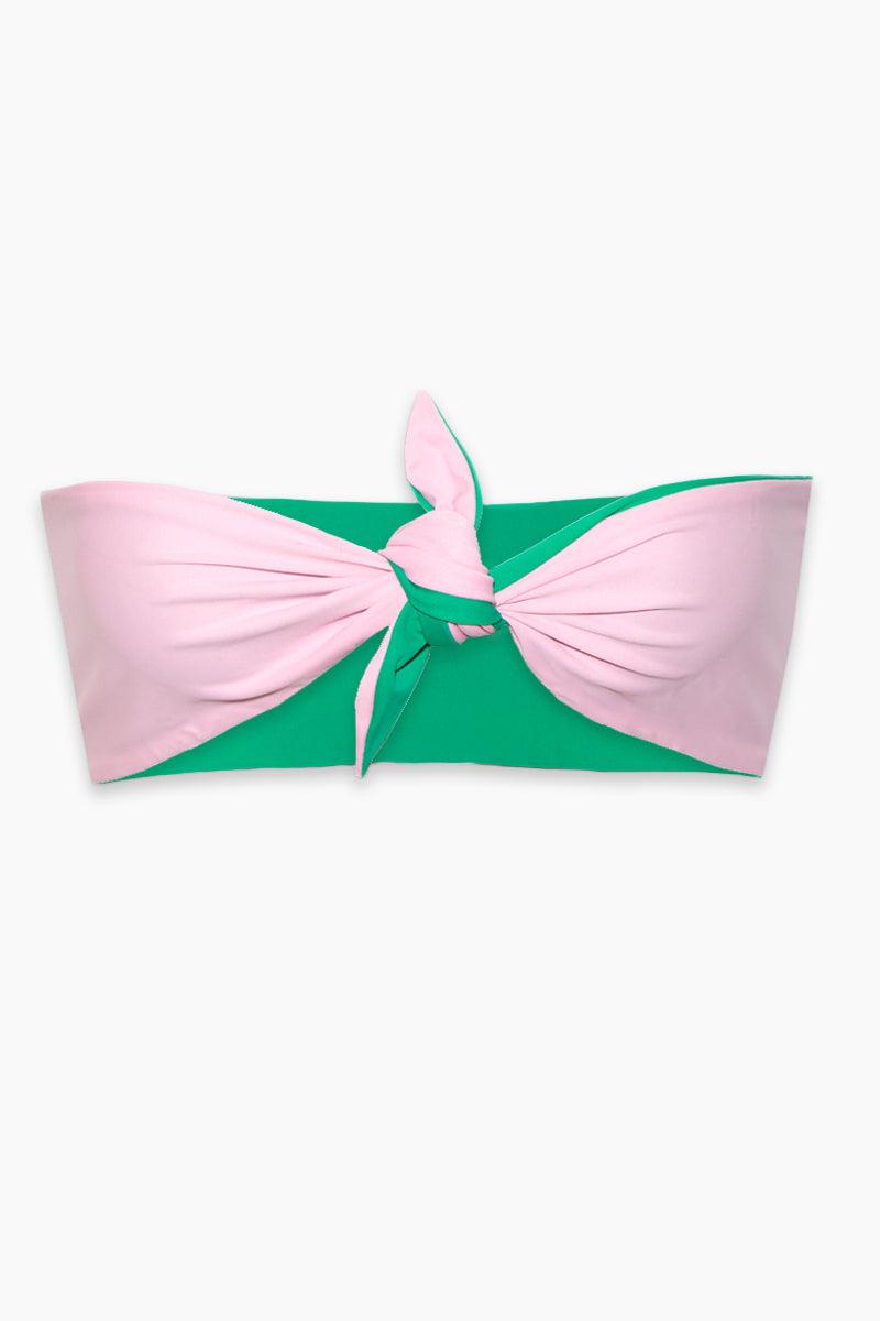 LEE + LANI Cool Green Reversible Bandeau Bikini Top - Pink/Cool Green Bikini Top | Pink/Cool Green| Lee + Lani Cool Green Reversible Bandeau Bikini Top- Pink/Cool Green Reversible Bandeau Front Knot Tie  Thick Back Band Flatlay View