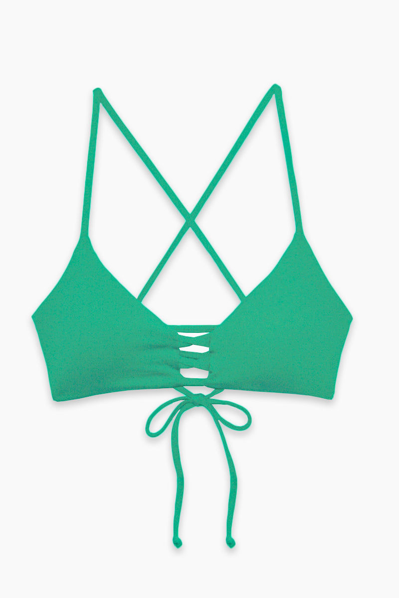 L SPACE Flynn Bralette Bikini Top - Spearmint Bikini Top   Spearmint  L Space Flynn Top - Spearmint  Flatlay View Bralette 3-strap center detail Laced X-back with adjustable ties Removable pads Fabric Content: 80% nylon, 20% spandex