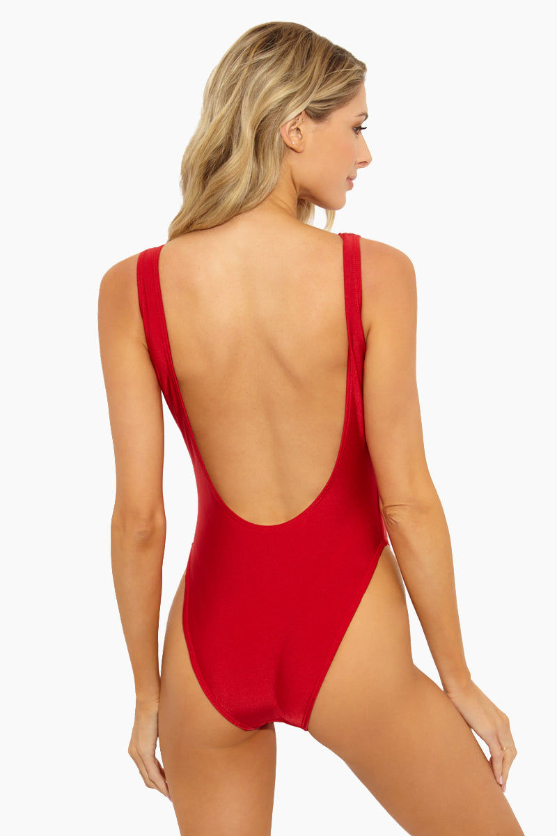 PRIVATE PARTY Heart One Piece Swimsuit - Red/Pink One Piece | Red/Pink|Heart One Piece Swimsuit Features - Fire truck red scoop neck tank style high cut one piece swimsuit with large light pink heart symbol on the front
