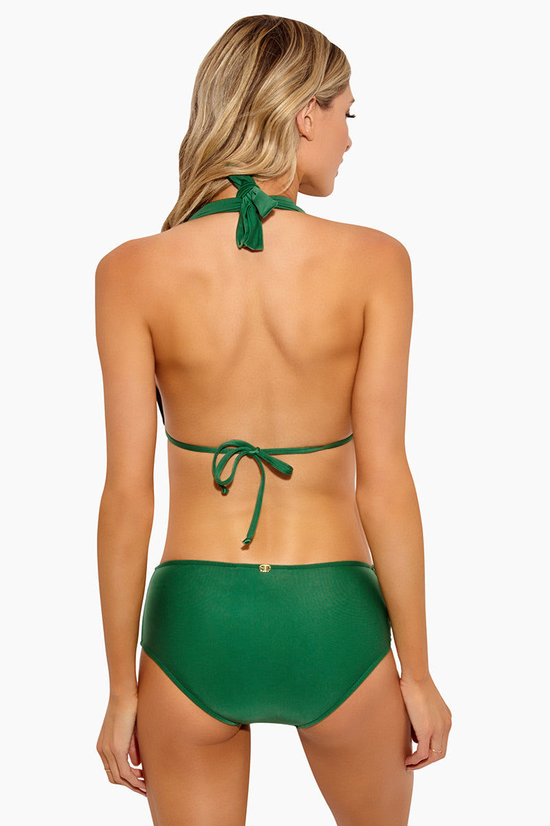 ADRIANA DEGREAS Long Triangle With Buckle Bikini Top - Green Bikini Top | Green|Adriana Degreas Long Triangle With Buckle Bikini Top - Green Features:  Green triangle bikini top Brown buckle hardware at sides Halter neck style Adjustable string tie back Vibrant green color Back View