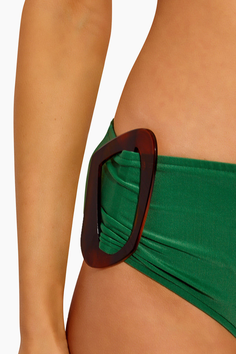 ADRIANA DEGREAS One Sided Buckle Bikini Bottom - Green Bikini Top | Green| Adriana Degreas One Sided Buckle Bikini Bottom - Green Features:  Green bikini bottom Brown buckle hardware at side Mid rise moderate coverage  Close Up View
