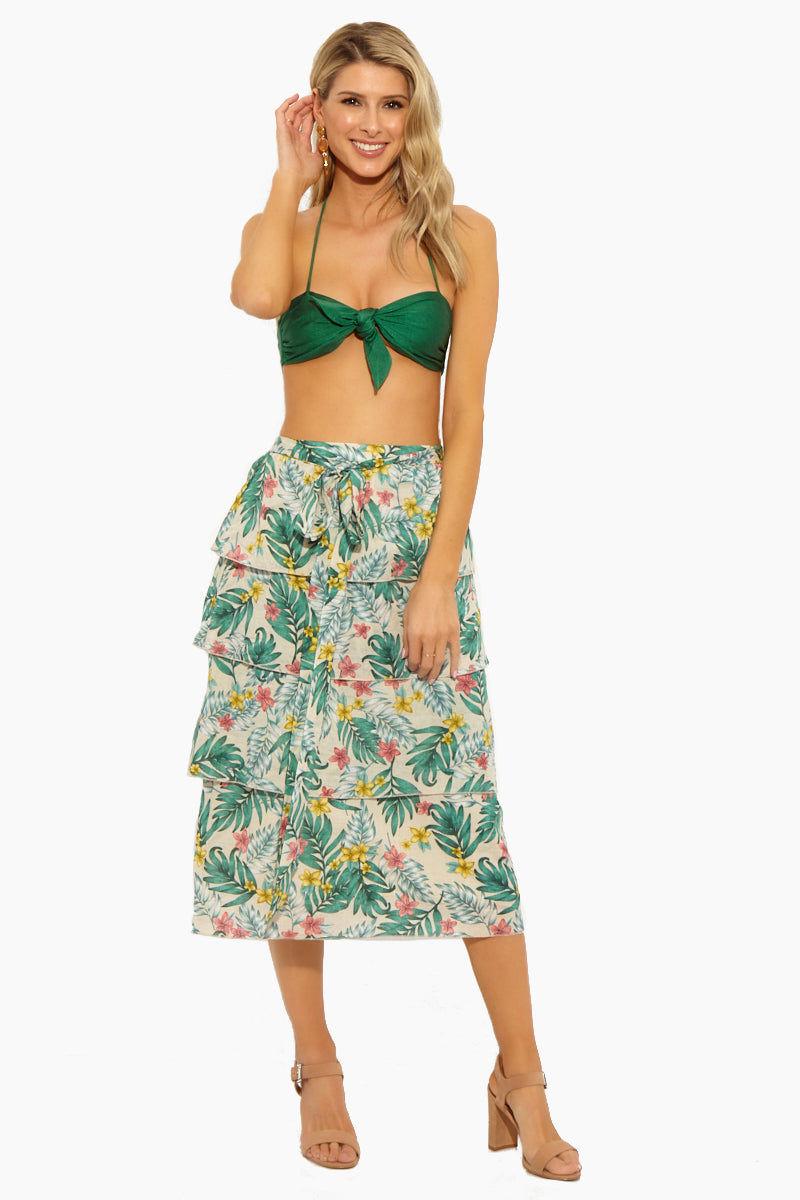 47f45e74d4 LUCCA Londyn Multi-Tiered Midi Skirt W/ Self Tie - Luau Sand Skirt ...