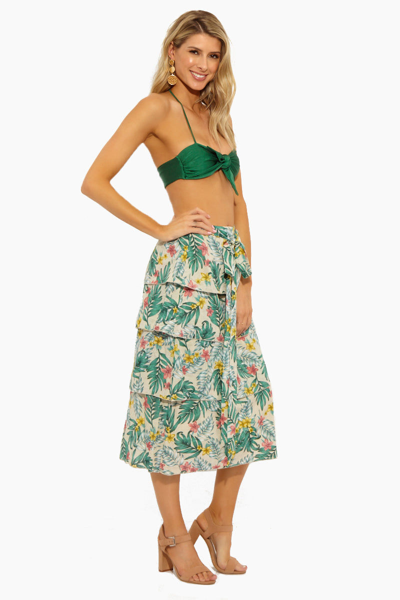 LUCCA Londyn Multi-Tiered Midi Skirt W/ Self Tie - Luau Sand Skirt   Luau Sand  Lucca Londyn Multi-Tiered Midi Skirt W/ Self Tie - Luau Sand. Features:   The midi skirt design is perfect for showing off your legs, without sacrificing coverage. The high-waisted cut is ideal for pairing with crop tops. Ties at front.