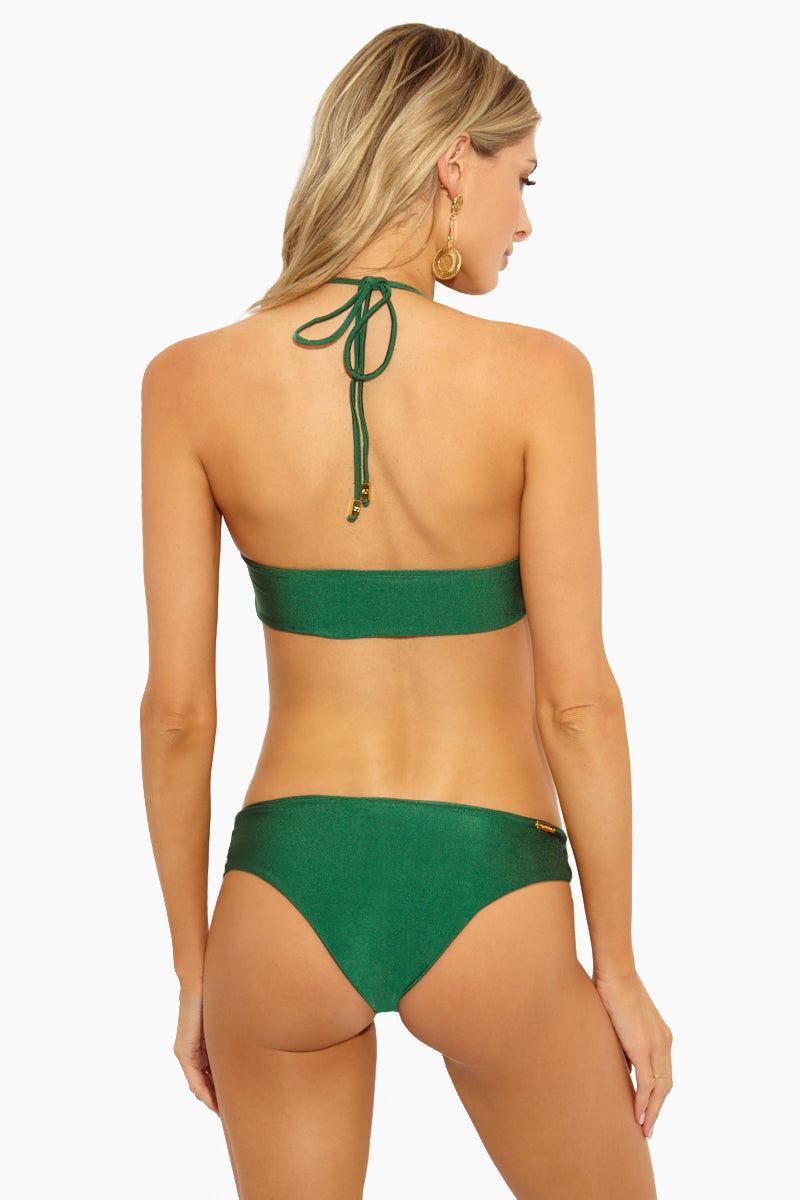 SARA CRISTINA Cleo Bottom - Esmeralda Bikini Bottom | Esmeralda| Sara Cristina Cleo Bottom - Esmeralda Emerald Green Mid-Rise Bikini Bottom Cut Outs at Sides Easy Pull-on Style High-End Italian Lycra Cheeky Coverage