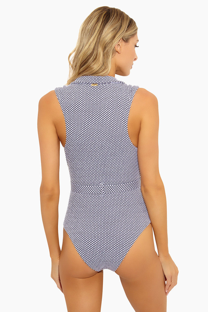 AMAIO SWIM Franz Plunging One Piece Swimsuit - Dot One Piece | Dot|Amaio Swim Franz Plunging One Piece Swimsuit - Dot Black and White Italian lining Chic Poplin Collar Luxe French Jacquard Fabric