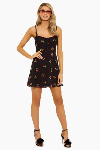 FOR LOVE AND LEMONS Cherry Twist Tank Mini Dress - Cherry Burnout Dress | Cherry Burnout|Cherry Twist Tank Mini Dress - Features:  Center Front Button Detailing Fixed Bows on Front and Back Straps Invisible Back Zipper Fit and Flare Sleeveless Front View