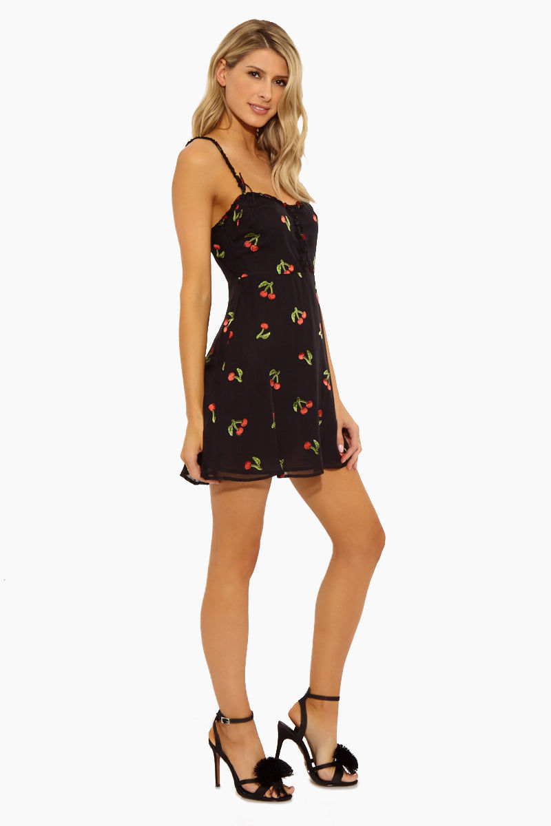 FOR LOVE AND LEMONS Cherry Twist Tank Mini Dress - Cherry Burnout Dress | Cherry Burnout|Cherry Twist Tank Mini Dress - Features:  Center Front Button Detailing Fixed Bows on Front and Back Straps Invisible Back Zipper Fit and Flare Sleeveless Front Vie