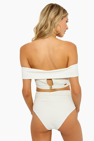 AMAIO SWIM Jolie High Waisted Bikini Bottom - Ivory Bikini Bottom | Ivory| Amaio Swim Jolie High Waisted Bikini Bottom - Ivory. Features:  High waist bikini bottom  High cut leg  Moderate coverage  Luxe jacquard fabric