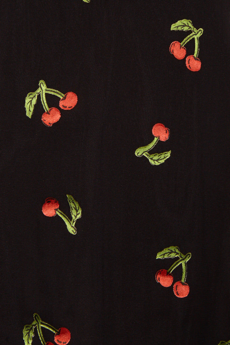 FOR LOVE AND LEMONS Cherry Twist Tank Mini Dress - Cherry Burnout Dress | Cherry Burnout|Cherry Twist Tank Mini Dress - Features:  Center Front Button Detailing Fixed Bows on Front and Back Straps Invisible Back Zipper Fit and Flare Sleeveless close up view