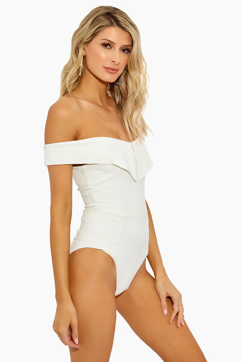 AMAIO SWIM Jaqueline Maillot One Piece - Ivory One Piece | Ivory|Jaqueline Maillot One Piece Front View - Features:  Off the shoulder Straight edge flounce  High cut leg  Cheeky coverage  Luxe Jacquard fabric