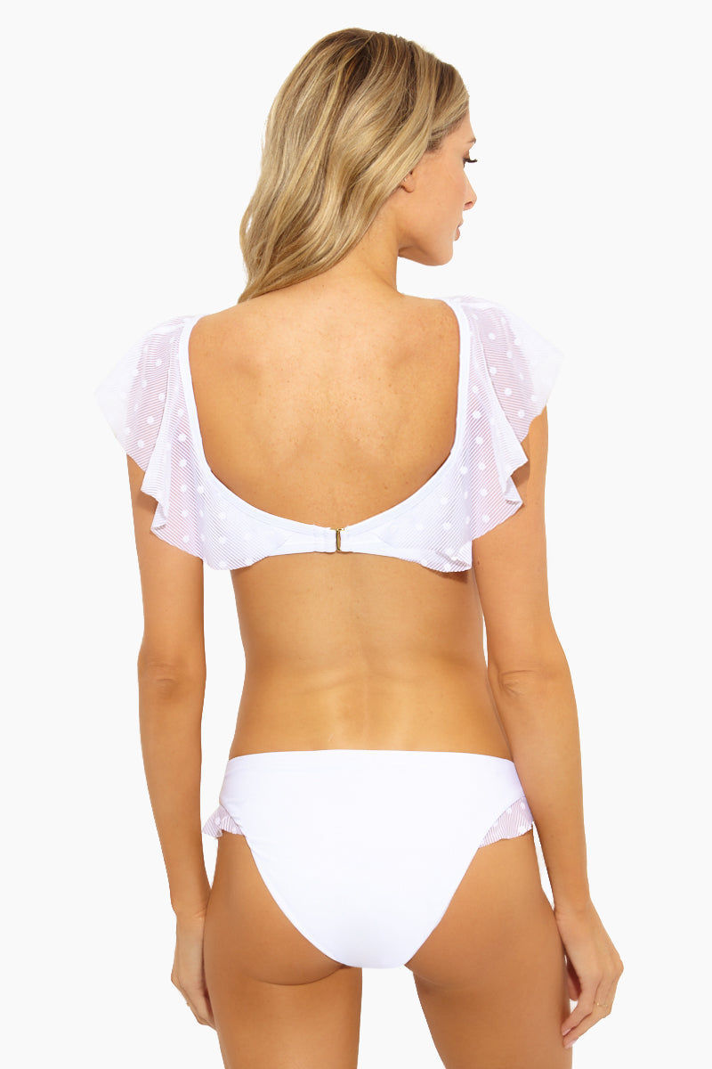 ELLA MOSS Sheer Dot Ruffle Retro Bikini Bottom - White Bikini Bottom   White  ELLA MOSS Sheer Dot Ruffle Retro Bikini Bottom Back View