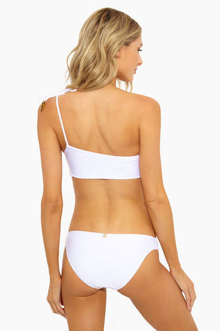 VIX SWIMWEAR Ivory One Shoulder Bikini Top - White Bikini Top | White | Vix Swimwear Ivory One Shoulder Bikini Top - White Back View Asymmetric Neckline One Shoulder Ties  Horn Detail End Tie  Removable Padding  Pullover  Fully lined  Ultra soft fabric Made in Brazil