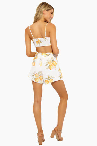 FOR LOVE AND LEMONS Lemonade Tie Front Tank - Lemon Top | Lemon|Lemonade Tie Front Tank - Features: Cropped profile V neck Sleeveless Tie at bodice Covered elastic at back