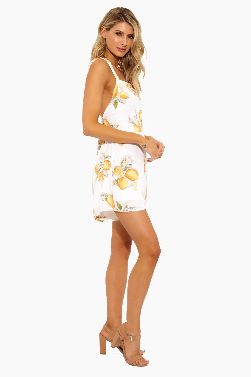 FOR LOVE AND LEMONS Lemonade Romper - Lemon Romper | Lemon|Lemonade Romper - Features: Lemon print Ruffle trim Tank style Sleeveless Tie at back Hook-and-eye at waist Zip at waist Open back Lined