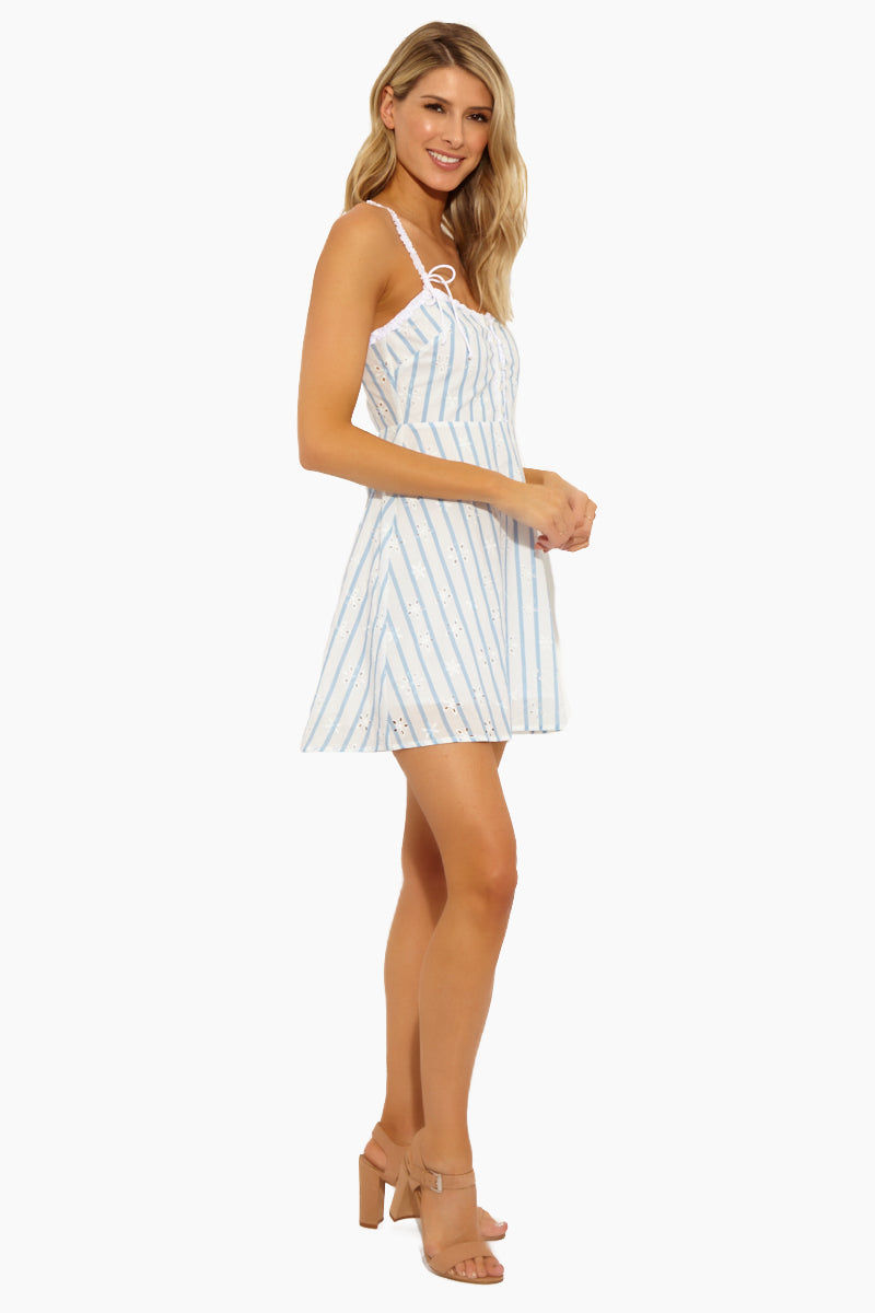 FOR LOVE AND LEMONS Picnic Eyelet Mini - Bluestripe Dress | Bluestripe|Picnic Eyelet Mini - Features: Ruffle trim Striped print Mini dress cut Scoop neck Sleeveless Button at placket Hook-and-eye at neckline Zip at back Lined