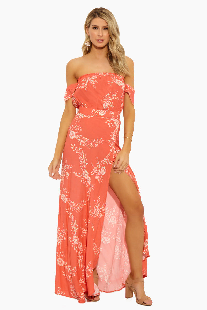 FLYNN SKYE Bella Maxi Dress - Apricot Burst Dress | Apricot Burst| Flynn Skye Bella Maxi - Apricot Burst Front View Maxi Dress Straight Neckline Off Shoulder Sleeves  Empire Waist  Floor Length Skirt  High Slit Style  100% Rayon Dry Clean Only