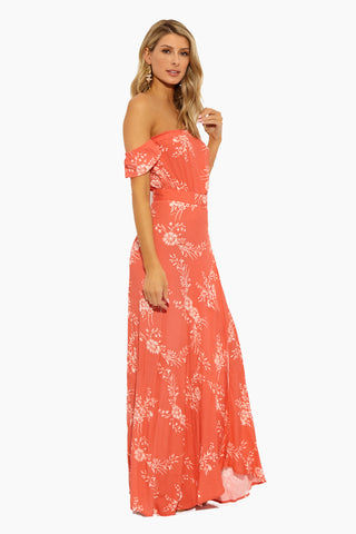 90b122816b ... FLYNN SKYE Bella Off The Shoulder Maxi Dress - Apricot Burst Dress