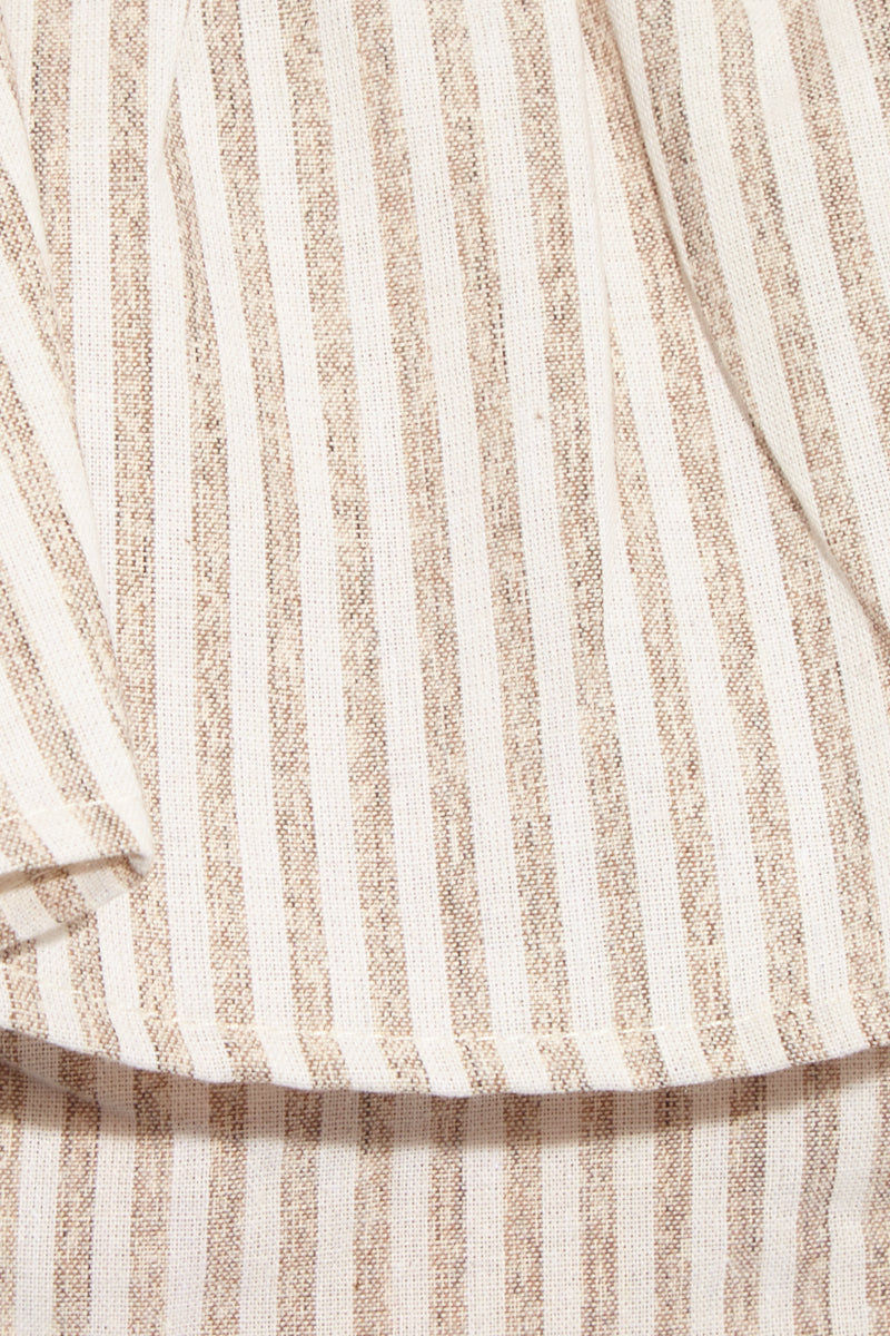 FLYNN SKYE Fiona Crop Top - Ash Stripe Top   Ash Stripe  Flynn Skye Fiona Crop Top - Ash Stripe Close Up View Strapless Crop Top  Flirty Ruffle Overlay  Stripe Print  Made in LA  Dry Clean Only