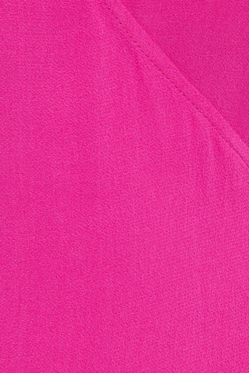 FLYNN SKYE Devon Dress - Passion Fruit Dress | Passion Fruit| Flynn Skye Devon Dress - Passion Fruit Close Up View Mid Length Wrap Dress V Neckline  Wide Shoulder Straps Off Shoulder Sleeves  Front Slit  Feminine Edges  Dry Clean Only