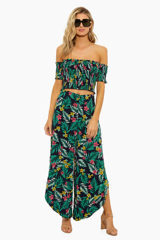 LUCCA Hope Side Rise Genie Pants - Luau Navy Pants | Luau Navy| Lucca Hope Side Rise Genie Pants. Features:  Genie styled pants Ventilating side slits High Waisted