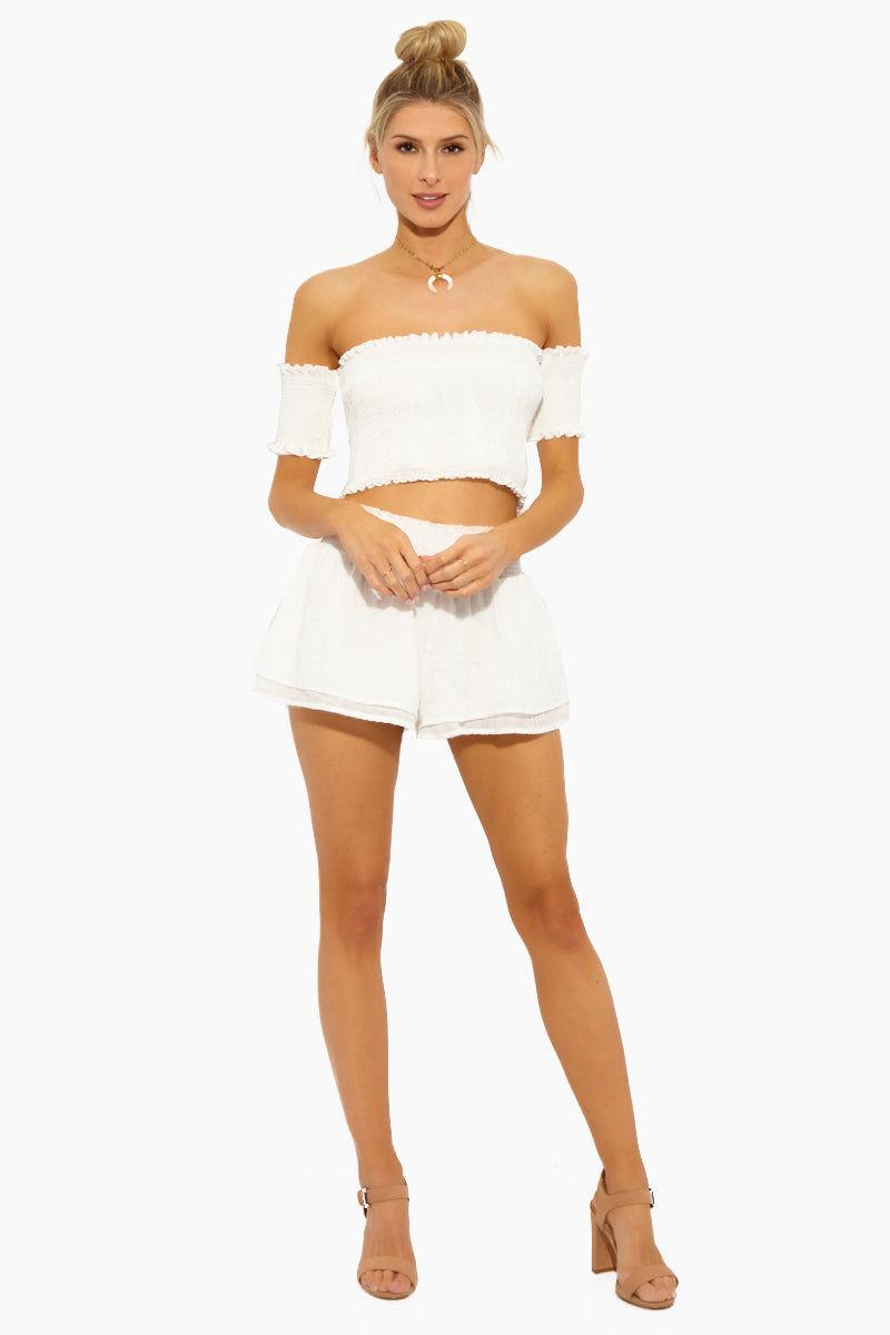 LUCCA Eloise Smocked Waist Shorts - White Gauze Shorts   Eloise Smocked Waist Shorts - White Gauze