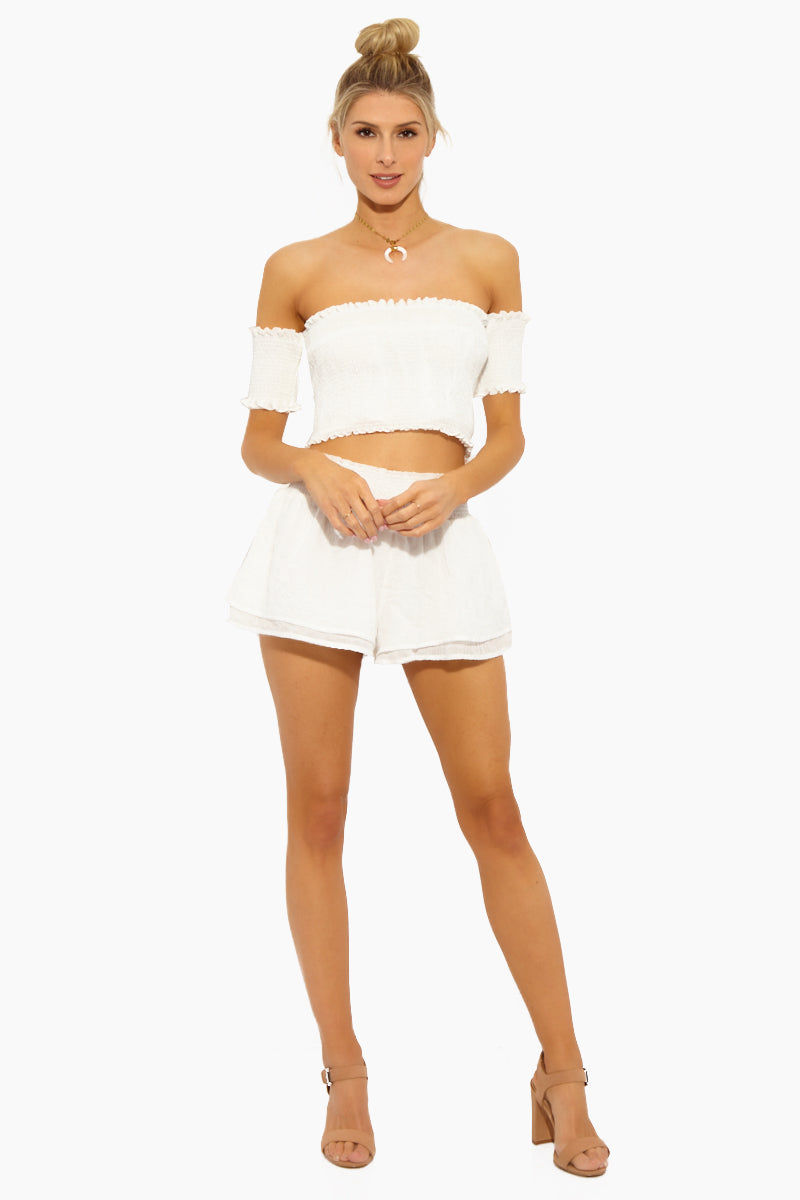 LUCCA Eloise Smocked Waist Shorts - White Gauze Shorts | White Gauze| Lucca Eloise Smocked Waist Shorts - White Gauze. Features: Features:  Shorts Smocked Waist Flowy