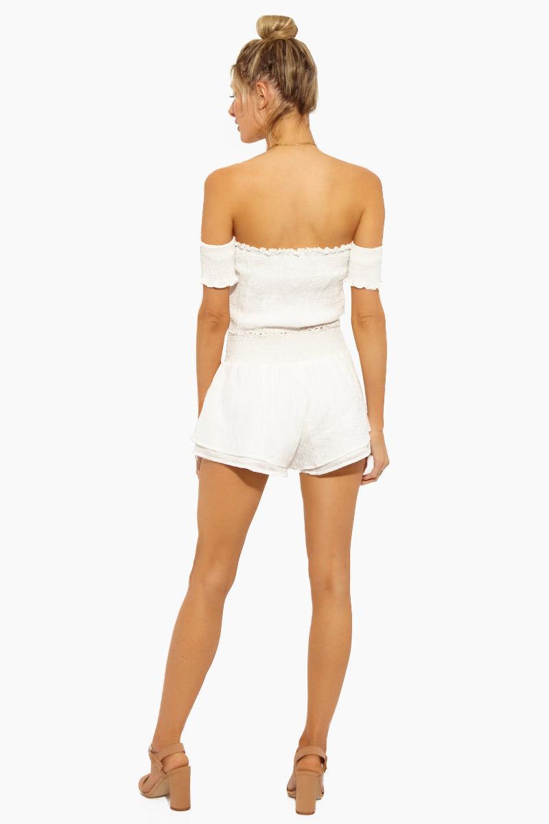 LUCCA Eloise Smocked Waist Shorts - White Gauze Shorts   White Gauze  Lucca Eloise Smocked Waist Shorts - White Gauze. Features: Features:  Shorts Smocked Waist Flowy
