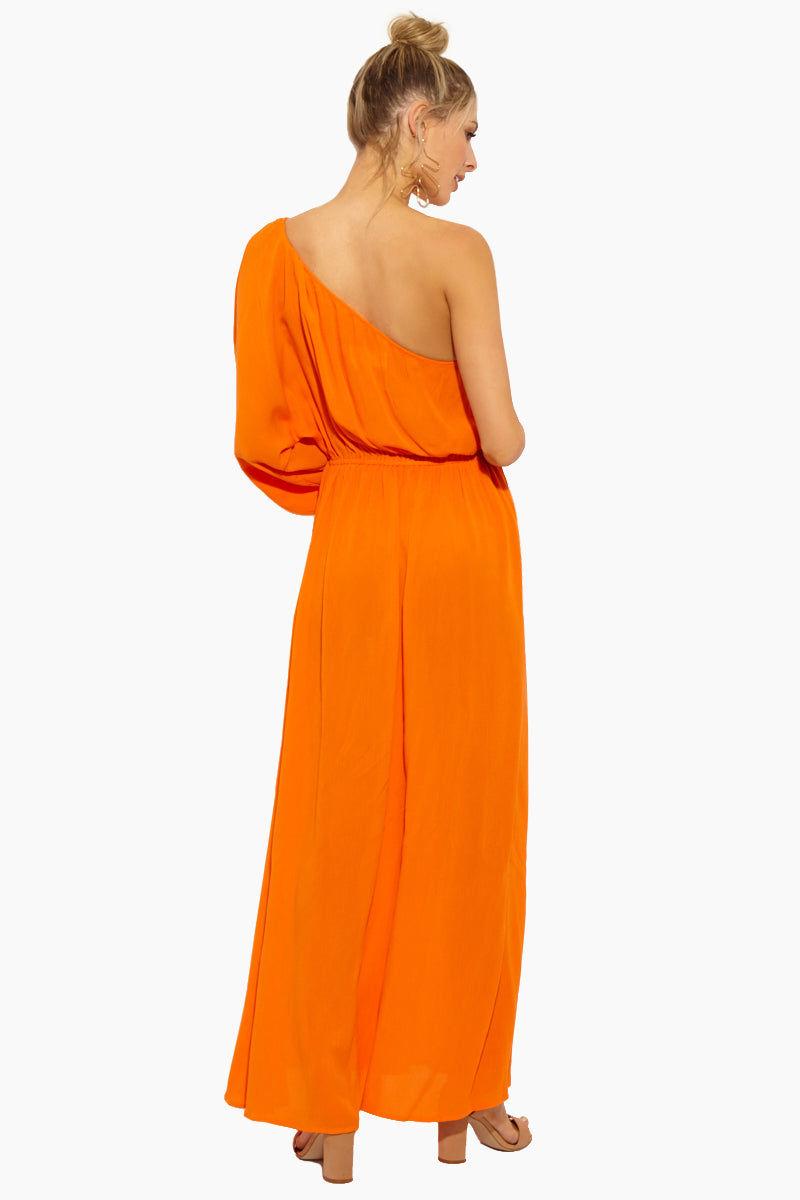MARA HOFFMAN Vera Maxi Dress - Orange Dress | Orange|Vera Maxi Dress - Features:  Orange crinkled-voile Slips on Textured weave fabric Swimdress Maxi length One-shoulder neckline Covered elastic at neckline Covered elastic at waist