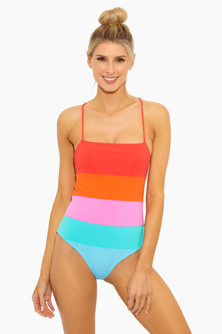 MARA HOFFMAN Olympia One Piece - Sunrise Color Block One Piece | Sunrise Color Block|Olympia One Piece - STYLE:  Vibrant color-blocked tank-style one piece swimsuit with moderate coverage. Bold red, orange, pink, and blue color palette is reminiscent of a summer sunset. Adjustable orange stringy spaghetti straps reach over shoulders and around the deep scoop back in a playful criss-cross design that finishes with a pretty bow and guarantees the perfect fit every time. On-trend grommet hardware secures the strings and adds an edgy touch to the fun one piece swimsuit.