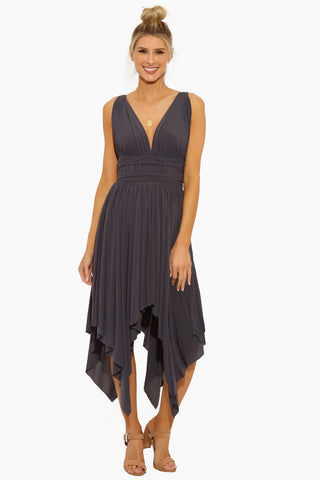 NORMA KAMALI Goddess Dress - Pewter Dress | Pewter | Norma Kamali Goddess Dress - Pewter Front View Deep V Neckline Lightly Draped Bust  String Tie at Waist  Draped Asymmetric Skirt  Handkerchief Hem  Unlined Polyester